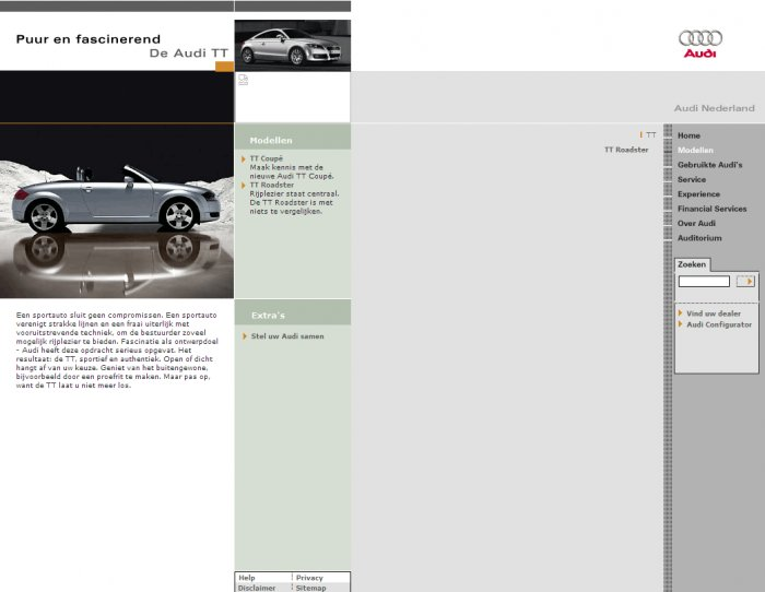 Informaton page, screenshot