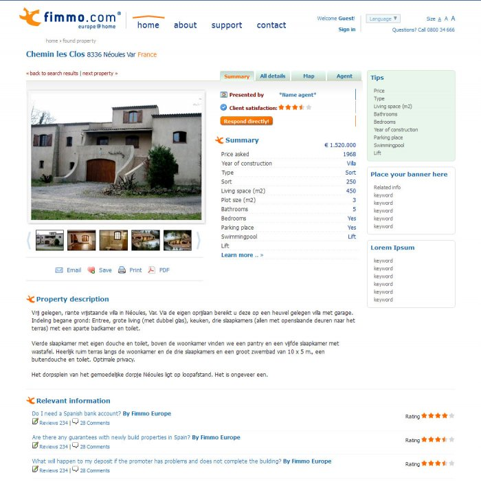 Selected property, summary