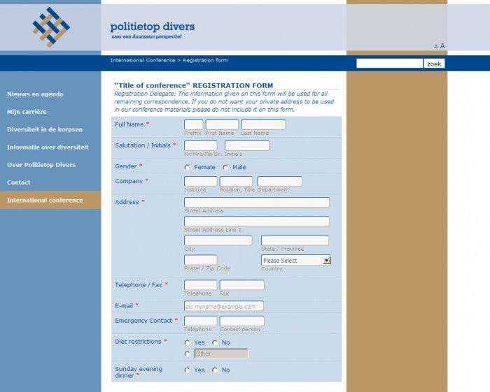 Ed-Pol, International Conference Registration Form, part 1