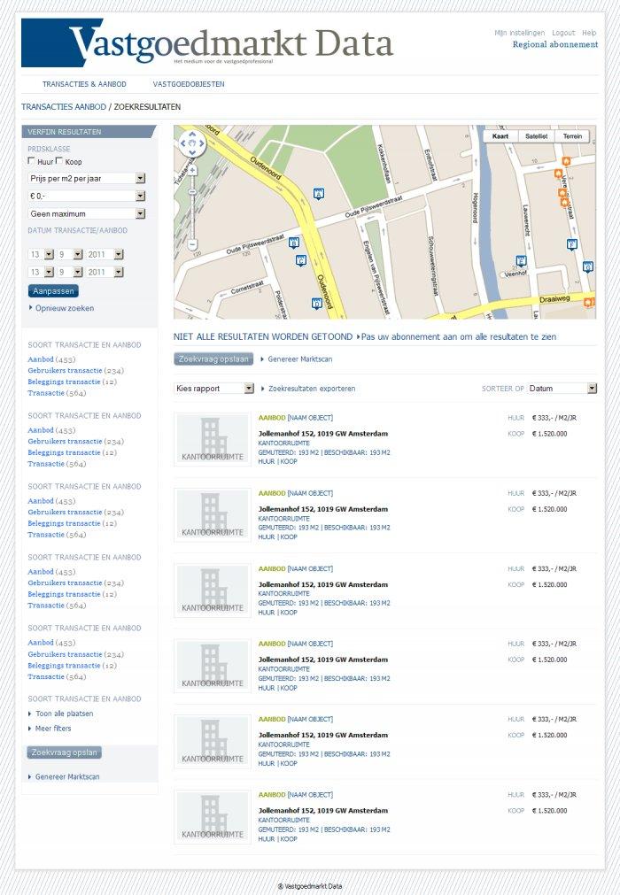 Search resuts page