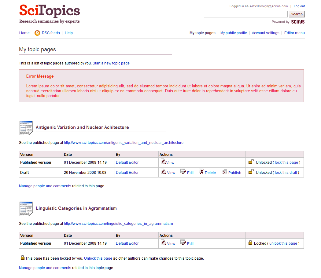 Elsevier, SciTopics