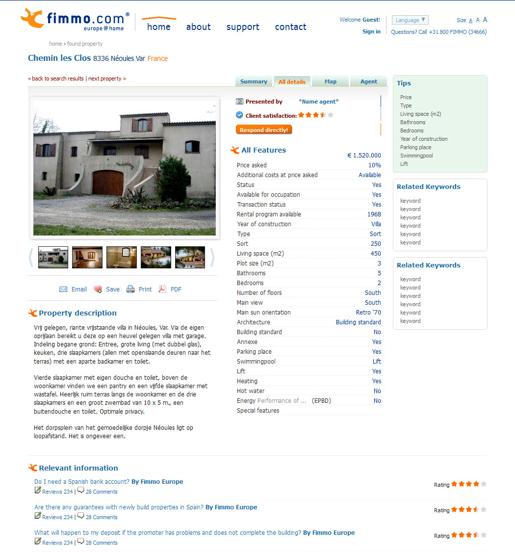 Selected property, details